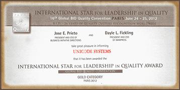 international star award for Leadership in Quality