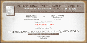 international star award for Leadership in Quality